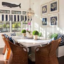 Cottage Breakfast Nook With Wicker Dining Chairs