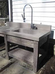 Best Outdoor Sink Material by Reclaimed Wood Vanity Base And Concrete Bathroom Sink By Trueform