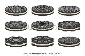 vector set of oreo cookie icons isolated on white background