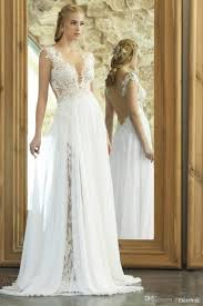 dropped waist lace wedding dresses 2017 a line wedding gown