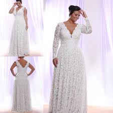 cheap plus size white lace evening dress 2016 long sleeves deep v