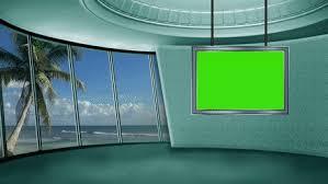 Virtual Green Screen News Tv Studio Greenscreen Chroma Key Background Loop TV