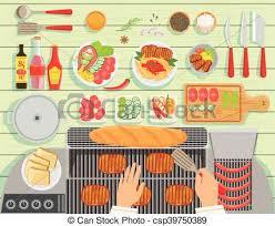 ensemble cuisine gril ensemble restaurant cuisine éléments au dessus vecteur