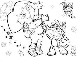 Free Coloring Activity Featuring Popular Character Dora The Explorer And Boots Catching A