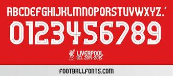 Liverpool 2014 2015 UCL Font TTF Football Fonts
