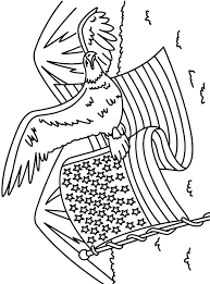 Veterans Day Coloring Pages Bald Eagle With Flag