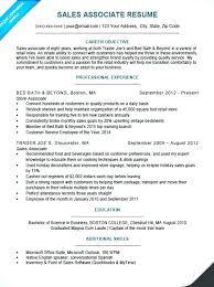 Sample Resume For Sales Associate No Experience Representative