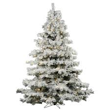 Flocked Alaskan 10 Green White Spruce Trees Artificial Christmas Tree With 1400 LED