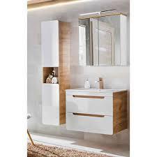 lomadox badmöbel set luton 56 spar set 5 tlg in hochglanz weiß mit wotaneiche keramik waschtisch und spiegelschrank bxhxt ca 130x195x46cm