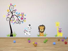 stickers jungle chambre bébé enfants stickers muraux grand arbre et animaux de la jungle
