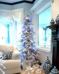 Blue And White Christmas Tree Sparklg With Pink Decorations Skirt Silver Xmas