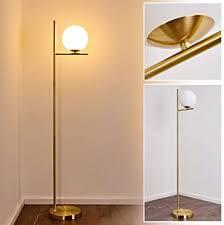 depuley stehleuchte led wohnzimmer mit glas kugel 9w birne e27 basis modern stehle schlafzimmer gold mit fußschalter 3000k augenschutz 720lm