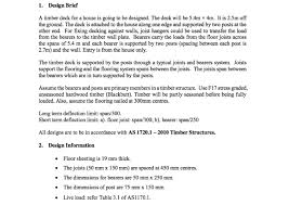 Floor Joist Spans For Decks by 1 Design Brief A Timber Deck For A House Is Going Chegg Com