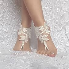 Ivory Beach Wedding Barefoot Sandals Shoe Prom Party Bridal Anklets Accessories