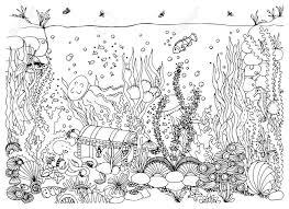 Monde Sous Marin Mer Griffonnage Océan Conte De Fées Une