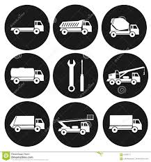 Set Of 9 Round Black Icons On Types Of Industrial Trucks. Collection ...