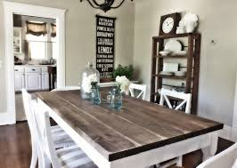 Wooden Homemade Table For English Country Dining Room Ideas With White Chairs And Neutral Wall Color