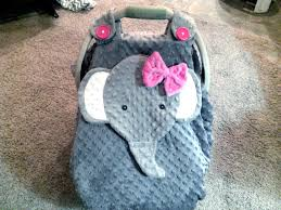 super cute gray fitted fleece elephant car seat canopy with