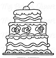 Bridal Vector Clipart of an Outlined Three Tier Wedding Cake