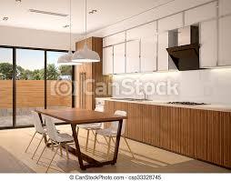 3d illustration der modernen küche innen und esszimmer in