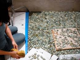Tile Adhesive Mat Vs Thinset by How To Lay A Pebble Tile Floor How Tos Diy