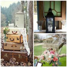 Rustic Wedding Decorations With Vintage Suitcases Crochet And Bird Cage