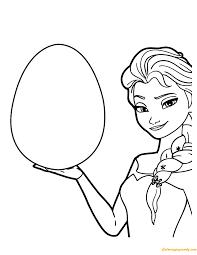 Elsa Frozen Color Her Easter Egg Design Coloring Page