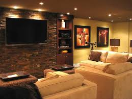 InteriorInspirational Traditional Basement Media Room Design Showing U Shape Brown Leather Sofa And Rustic