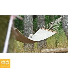 Hemp Canvas Hammock with Solid Untreated Wood Bars