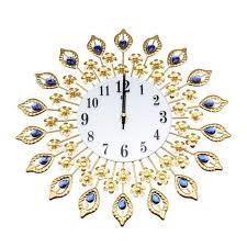 großhandel moderne goldblumen große wohnzimmer wanduhr metall wand uhr home decor melome 22 44 auf de dhgate dhgate
