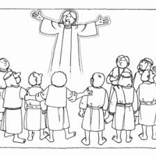 The Ascension Of Jesus Christ Into Heaven With Apostles Bible Memory Verse Coloring Page