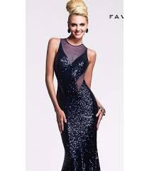 faviana 7331 navy blue sequin formal evening gown size 4 uk 6 nwt
