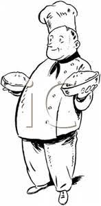 A Bakery Chef Displaying His Award Winning Pies Royalty Free Clipart Picture