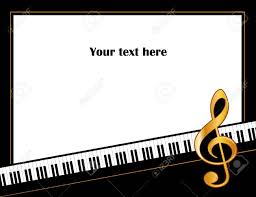 Music Entertainment Event Poster Frame Piano Keyboard Golden Treble Clef Horizontal Stock