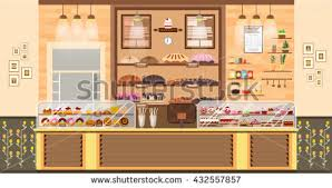 Stock vector illustration interior of bake shop sale business of baking sales production of
