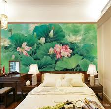 Wall Mural Decals Nature by Chinese Painting Photo Wallpaper Silk Wall Mural Lotus Pond Art