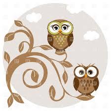 Blue Cartoon Owl On Branch Name
