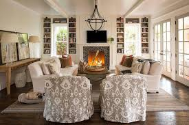 white and gray cottage living room with pebble fireplace tile