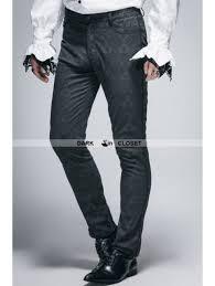 Devil Fashion Vintage Black Gothic Jacquard Pants For Men