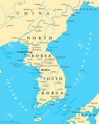 Korean Peninsula Political Map With North And South Korea The Capitals Pyongyang Seoul