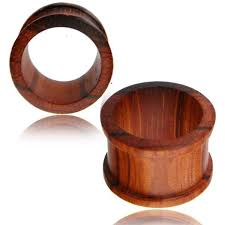 Pair Of Flat Top Hat Wood Tunnels Organic Blood Double Flare Ear Gauges Tribal Plugs