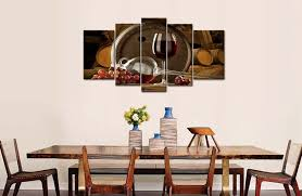 5 Panel Wall Art Painting Red Grapes Wine Barrel And