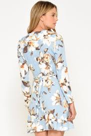 john zack kate tropical floral wrap dress in blue iclothing