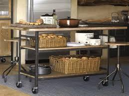 Wonderful Antique Kitchen Cart Metal Black With Wood Top Square Beige Rattan Basket