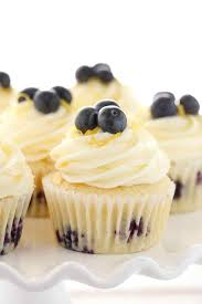Soft Light And Moist Lemon Cupcakes Loaded With Fresh Blueberries Topped An