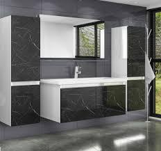 homeline badmöbel set luuci 60 badmöbel set 60 cm schwarz weiss marmor optik hochglanz luuci badezimmermöbel bad 6 teilg 6 tlg kaufen