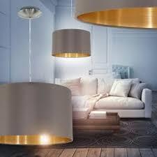 details zu hängeleuchte design pendelle wohn zimmer esszimmer leuchte stoff cappuccino