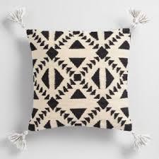 Black And Ivory Geo Woven Indoor Outdoor Throw Pillow