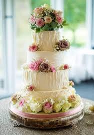 Wedding Cake Fresh Flowers On With Meet Flour How