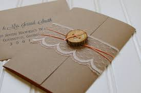 Rustic Wood Slice And Lace Wedding Invitations Unique Handmade Paper Invites Custom Shabby Chic